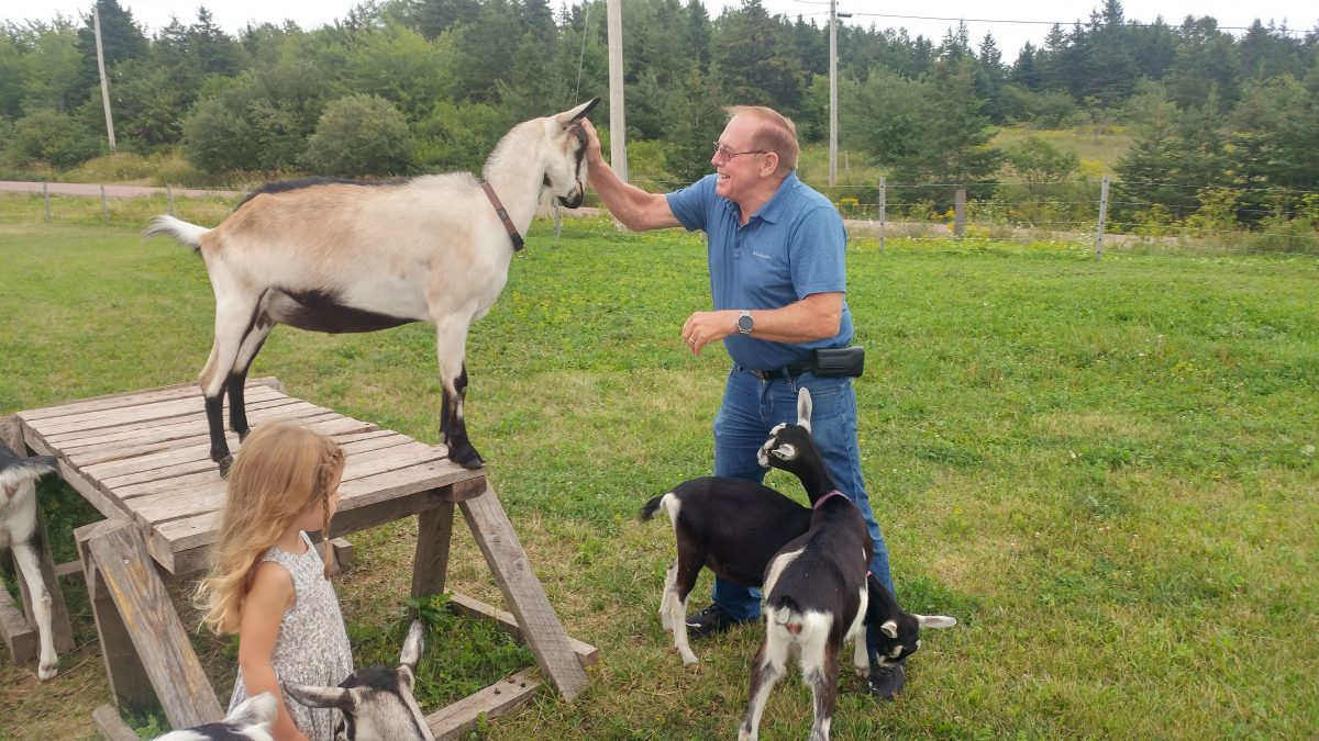 Simply Ducky Farm - A guest enjoys a close encounter of the goat kind!